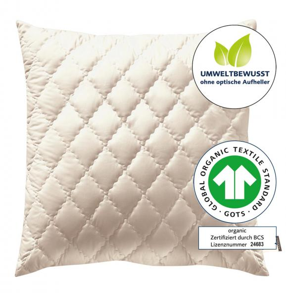 billerbeck Kopfkissen Zirbenkissen Zirberella Wool Organic mit Schafschurwoll-Füllung 80x80 cm mit Steppung, GTOS ZErtifikat, ohne optische Aufheller