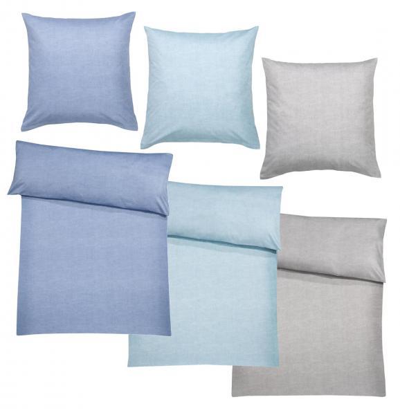 billerbeck Bettwäsche Hermine bestehend aus Bettdeckenbezug 135x200 cm / 155x200 cm und Kopfkissenbezug 80x80 cm Farbe jeans, aqua, silver