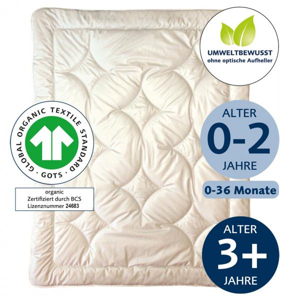 billerbeck bio  kinderdecke cosidream nature, gots-zertifikat, ohne optische Aufheller, wärmestufe leicht und mittel, größe 80x80 cm und 100x135 cm,Alter -/+ 3 Jahre