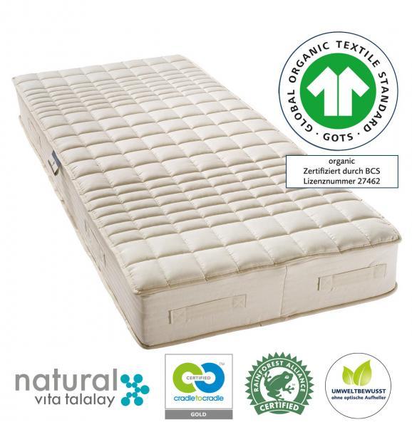 billerbeck Naturlatex-Matratze Cosicomfort mit Naturlatex-Kern und Matratzenbezug, GOTS, Rainforest Alliance, Cradle-to-Cradle, ohne optische Aufheller